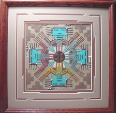 """Sand Painting - 14 Inch """"Turquoise Maiden"""" - NOW 75% OFF"""