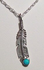 Sterling Silver Feather Jewelry with Turquoise