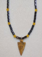 Hematine and Golden Jasper Arrowhead Necklace 25% OFF