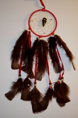 Fancy 4 Inch Red Dreamcatcher with Arrowhead