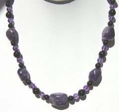 Amethyst Nugget Necklace with Onyx Beads