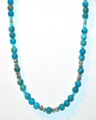 Blue Crazy Lace Agate Necklace with Silver Beads