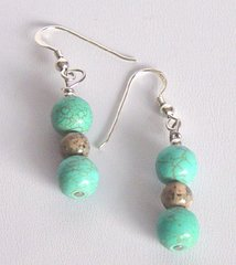 Turquoise Earrings with Jasper 33% OFF