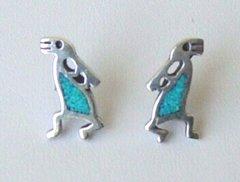 Kokopelli Earrings with Turquoise Inlay