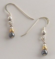 Hematite and Gold Bead Earrings