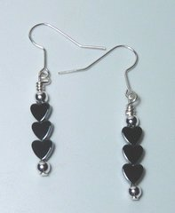 Hematite Stacked Heart Earrings 33.% OFF