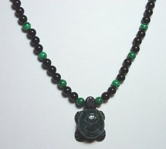 Onyx Necklace with Jade Turtle 35% OFF