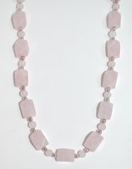 Rose Quartz Necklace - Nuggets with Silver Beads
