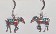 Horse Earrings with Turquoise, Coral & Onyx