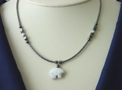 American Indian Jewelry - Howlite Bear Necklace