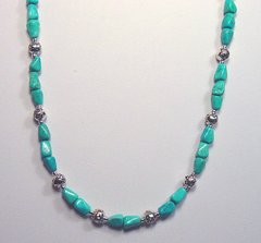 Turquoise Necklace with Silver Rose Beads