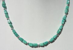 Turquoise Necklace with Silver Beads