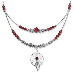 Red Jasper Necklace Half-Double with Dream Catcher 30% OFF