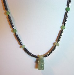 Bear Necklace - Aventurine and Hematine 20% OFF