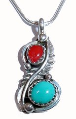 Turquoise and Coral Pendant in Sterling Silver - 25% OFF