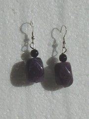 Amethyst Nugget Earrings with Onyx