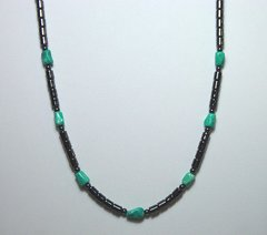 Hematite Necklace with Turquoise Stones 25% OFF