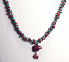 Turquoise and Red Jasper Necklace with Bear - 50% OFF