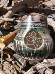 Navajo Pottery - Ceramic Horse Hair Metallic Green Dreamcatcher Vase - NOW 15% OFF