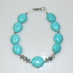 Turquoise Magnasite Bracelet with Silver beads