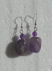 Amethyst Nugget Earrings with Amethyst bead
