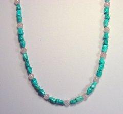 Turquoise Necklace with Rose Quartz