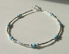 Turquoise Anklet/Bracelet with Liquid Silver