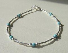 Turquoise - Liquid Silver - Anklet / Bracelet