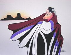 American Indian Painting - Will Redbird - Kiowa Secred Mesa