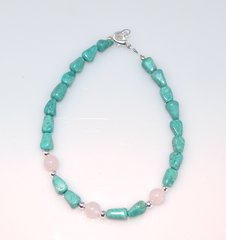 Turquoise Bracelet with Rose Quartz and Silver Beads