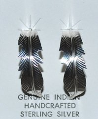 Sterling Silver Eagle Feather Earrings