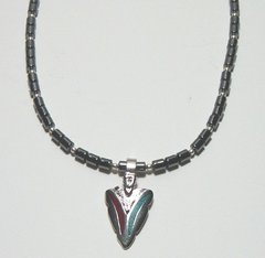 Hematite Necklace with Turquoise/Coral Arrowhead