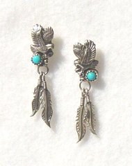 Eagle Earrings with Turquoise and Feathers