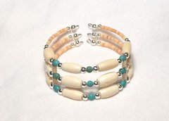 Memory Wire Bracelet | Horn Bone and Turquoise 50% OFF