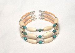 Memory Wire - Horn Bone & Turquoise - Bracelet