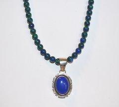 Azurite Necklace with Lapis Lazuli Pendant 25% OFF