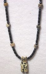 African Jasper Bear Necklace with Hematine