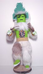 Kachina Doll - 12 Inch Tall Green Mask Wolf - NOW 60% OFF