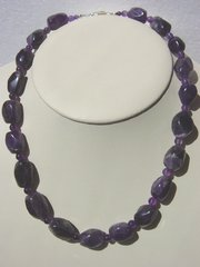 Amethyst Nugget Necklace with Amethyst Beads