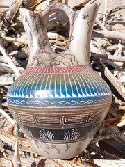 Navajo Pottery - Ceramic Horse Hair Wedding Vase - NOW 15% OFF