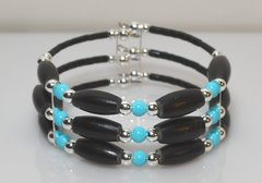 Memory Wire Black Horn Bone Bracelet with Turquoise 50% OFF