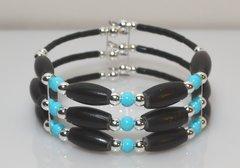 Memory Wire Black Horn Bone - Turquoise - Bracelet