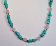Turquoise Necklace with Rose Quartz and Silver Beads