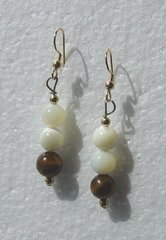 Mother of Pearl Earrings with Tiger's Eye 33% OFF