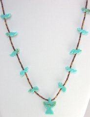 Turquoise & Shell Necklace with Eagle and Fox