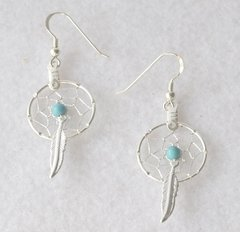 American Indian Dream Catcher Earrings with Turquoise