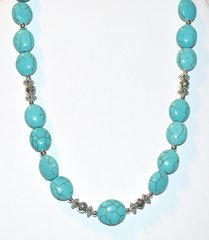 Turquoise Magnasite Necklace with Silver Beads 30% OFF