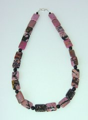 Rhodonite Necklace with Onyx beads 30% OFF