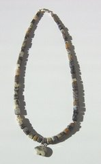 Silver Leaf Jasper Necklace with Bear