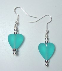 Turquoise Color Heart Earrings 50% OFF